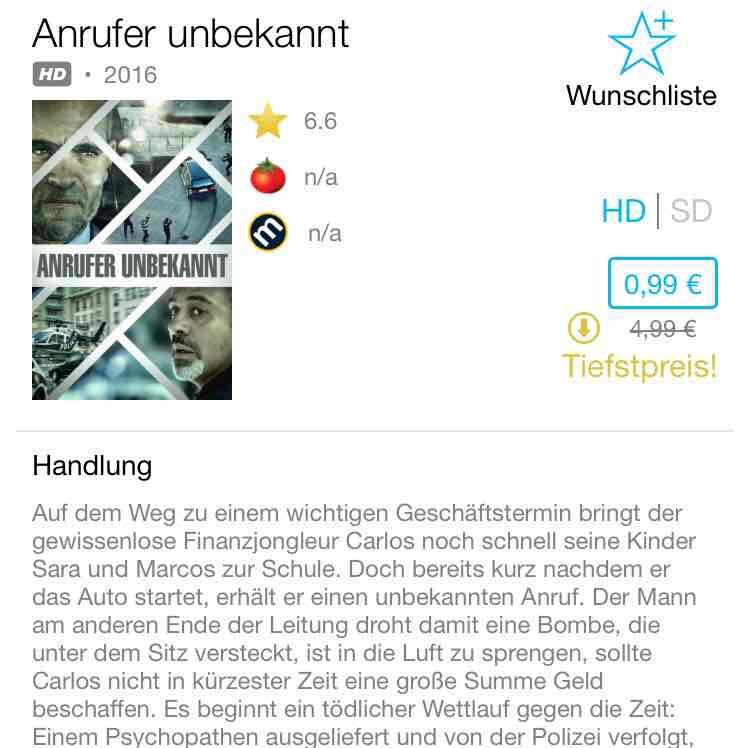 Anrufer Unbekannt iTunes Leihfilme der Woche