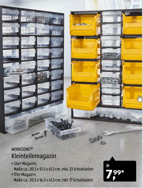 [ALDI Süd] Workzone Kleinteilemagazin 17 bzw. 33teilig für je 7,99€