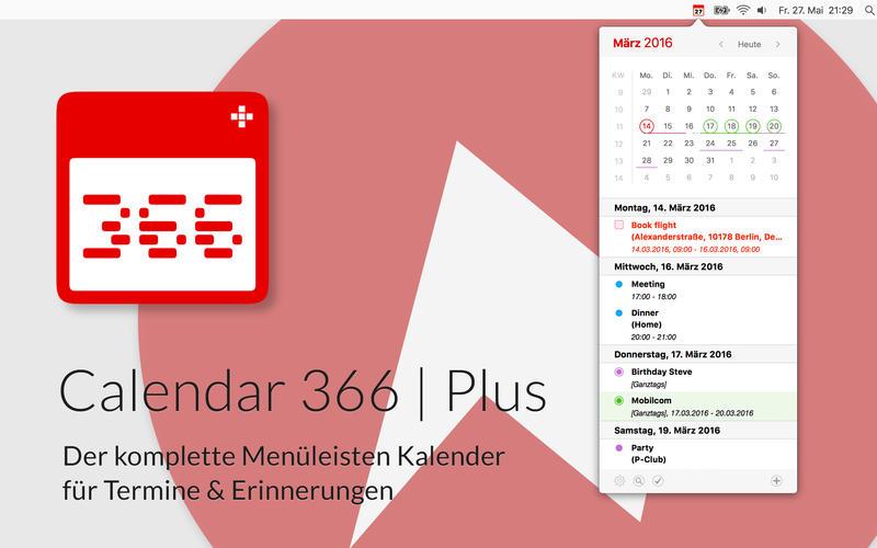 [macOS] Calendar 366 Plus - Der Menüleisten Kalender! 1,99€ anstatt 9,99€