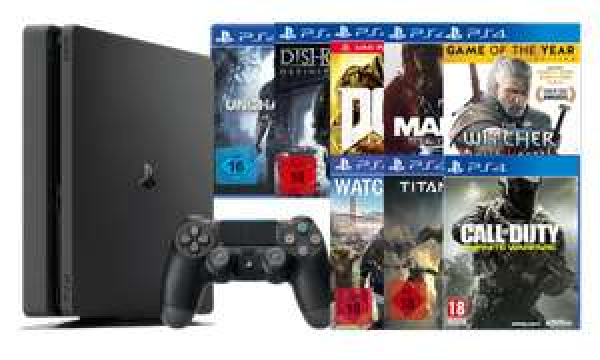 SONY PlayStation 4 Slim + 1 Spiel nach Wahl für 249,98 €