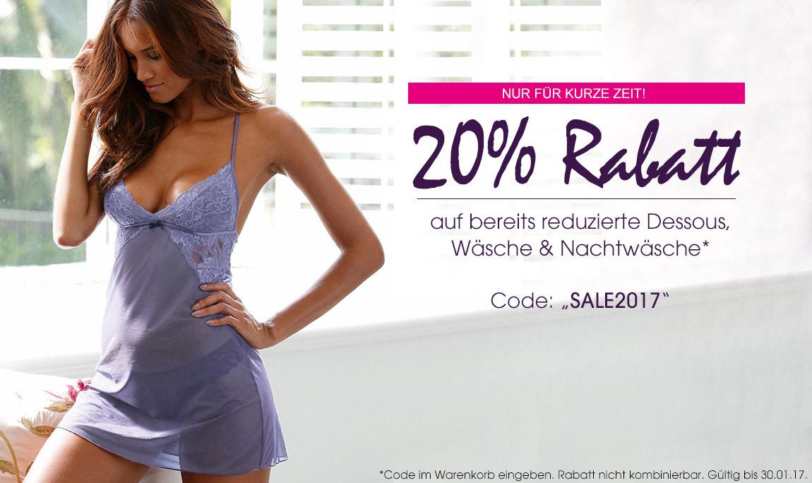 Sale bei Lascana mit 20% Rabatt auf bereits reduzierte Dessous, Wäsche & Nachtwäsche