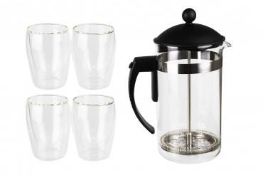 Boral Kaffee- & Tee-Bereiter-Set und 4 doppelwandigen Gläsern PVG 29,97€ bei top12