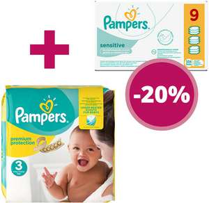 AKTION: Mini Monatsbox Pampers 240 Stück, Gr. 2, 3-6 kg + 9er Pack Pampers Sensitive Feuchttücher: -20%