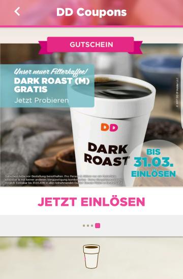 (In App Gutschein) Dunkin Donuts Dark Roast M gratis
