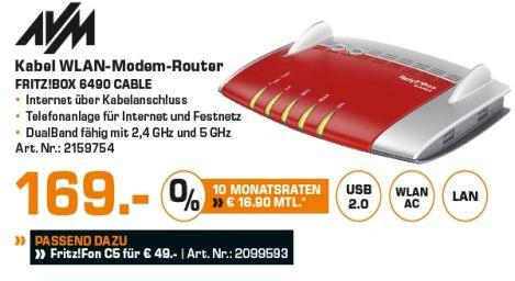[Lokal Saturn Hamburg-Alle Märkte] AVM FRITZ!Box 6490 Cable WLAN AC + N Router (DOCSIS-3.0-Kabelmodem für Kabelanschluss, bis 1.300 Mbit/s (5 GHz) für 169,-€ oder AVM FRITZ!Fon C5  für 49,-€