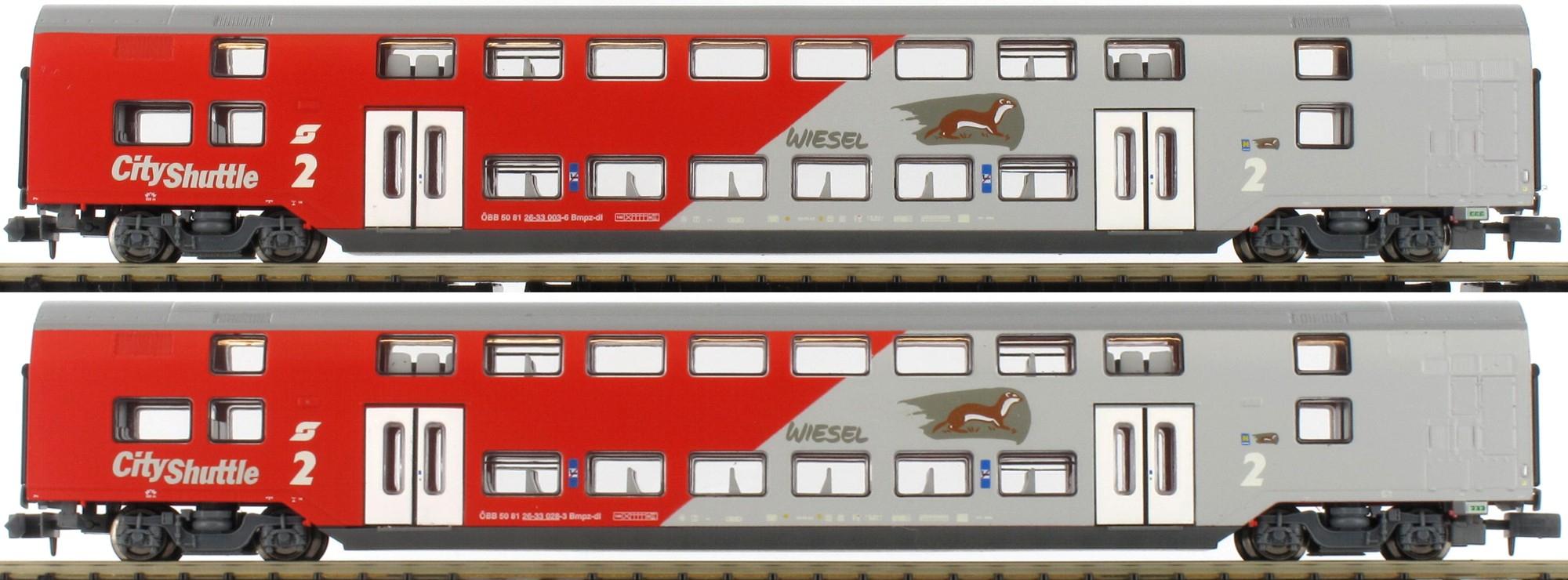 Modellbahn Jägerndorfer 2-tlg. Dosto Garnitur ÖBB City Shuttle Best.-Nr. 60201 N DC (ev. Versandkosten dazu) bei Modellbahn Licht