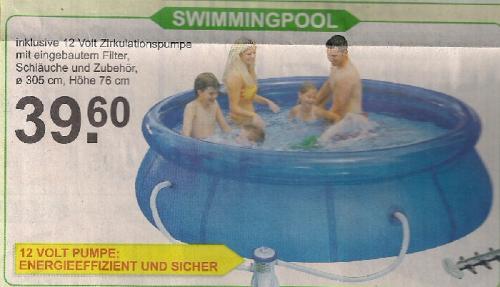 [offline Van Cranenbroek - NL - Ecke AC]Swimmingpool 305 cm Durchmesser, Höhe 76 cm inkl. Pumpe für 39,60 €, Tischtennisplatte 49,95 €