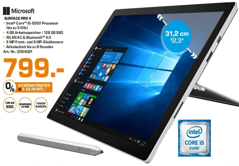 [Lokal Saturn Hamburg] Microsoft Surface Pro mit i5 / 4GB / 128 Gb SSD für 799,- Euro