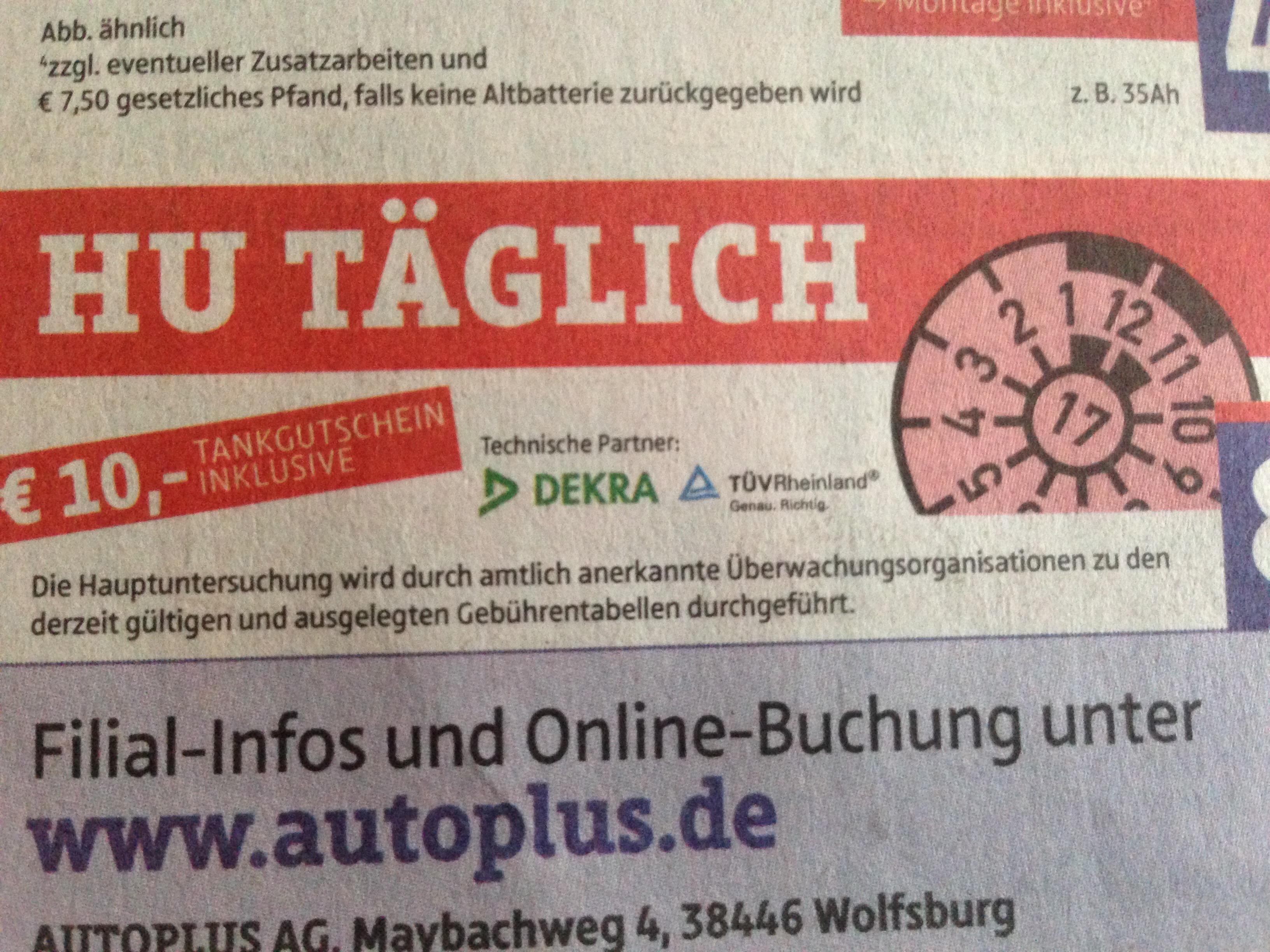 [Lokal - Wolfsburg?] HU + AU für 89€ + 10€ Tankgutschein bei AUTO Plus