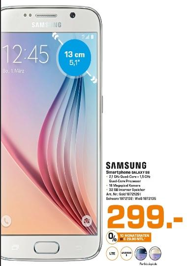 [Lokal Saturn Hamburg] Samsung Galaxy S6 mit 32 GB Speicher in weiß, schwarz oder gold für 299€ bzw. 250€ mit MM Gutscheinen