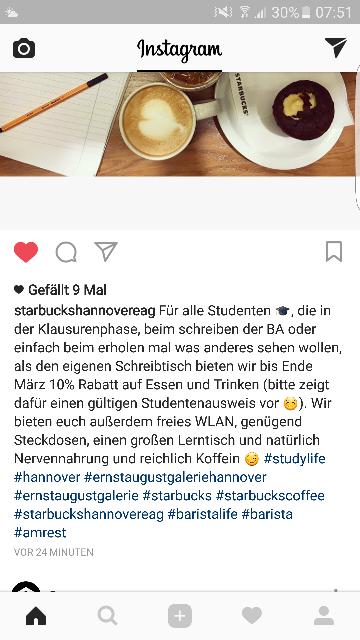 [LOKAL Hannover][Studenten] 10% Rabatt Starbucks auf Speisen und Getränke