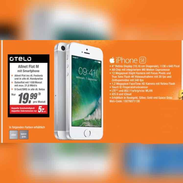 [EXPERT] iPhone SE mit Allnet Flat und 1 GB Datenvolumen im Vodafone Netz für 19,99€ mntl. (OTELO)