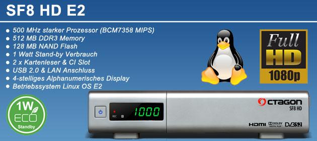 OCTAGON SF8 Silber Enigma2  HD Receiver  VK frei bei Vorkasse.