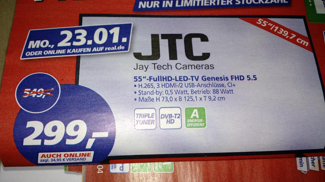 """JTC Genesis 5.5, 55"""" FHD Triple Tuner TV für 299€ [,-real bundesweit ab 23.01.]"""