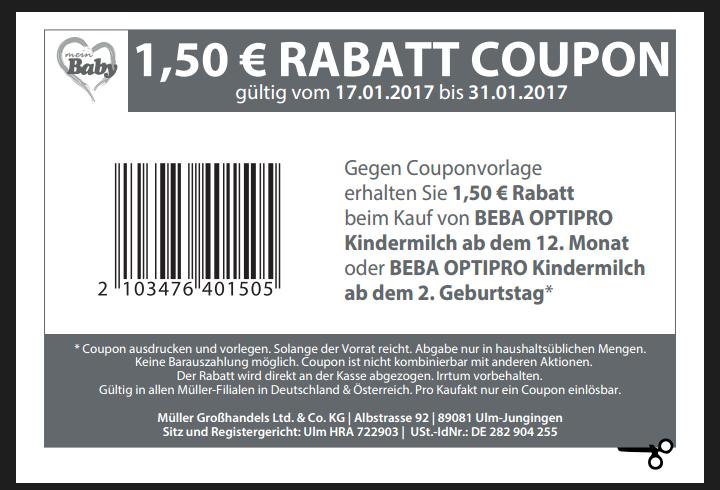 1.50€ sparen auf Beba Optipro Kindermilch