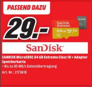 [Lokal Mediamarkt Dresden-Centrum Galerie] SanDisk Extreme microSDXC 64GB U3 V30 (SDSQXVF-064G-GN6MA) inkl. SD-Adapter bis zu 90MB/s lesen, 60MB/s schreiben für 29,-€