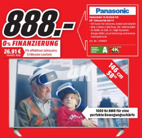 [Lokal Mediamarkt Wiesbaden] PANASONIC TX-58DXM715, 146 cm (58 Zoll), UHD 4K, LED TV, 1600 Hz BMR, DVB-T, DVB-T2, DVB-C, DVB-S, DVB-S2,A, Ultra HD TV für 888,-€