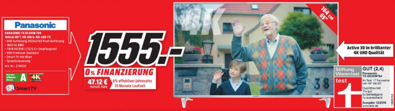 [Lokal Mediamarkt Wiesbaden] PANASONIC TX-65DXW784, 164 cm (65 Zoll), UHD 4K, 3D, SMART TV, LED TV, 1800 Hz BMR IFC, DVB-T, DVB-T2 (H.265), DVB-C, DVB-S, DVB-S2,A, Curved TV für 1555,-€