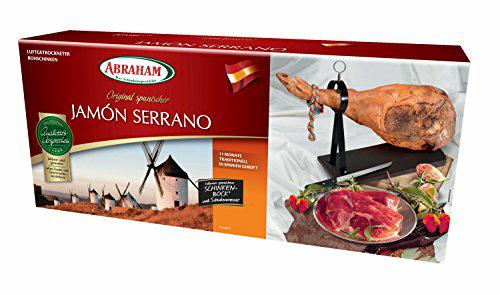 [Amazon Prime] Serrano Schinken 6,5kg Abraham Jamón mit Messer und Bock 5,08€/KG