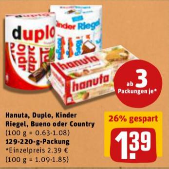 [Rewe] Hanuta, Duplo, Kinder Riegel, Bueno oder Country ab 3 Packungen zu je 1,39€  ab 23.01.