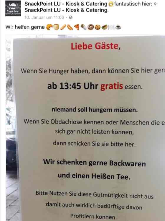 [Ludwigshafen am Rhein] Snackpoint ab 13:45Uhr gratis Essen