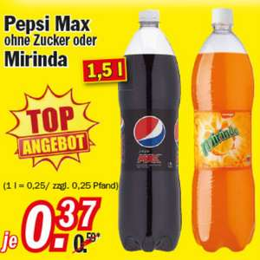 Pepsi Max oder Mirinda 1,5l für 0,37€ bei Zimmermann ab 23.01.17