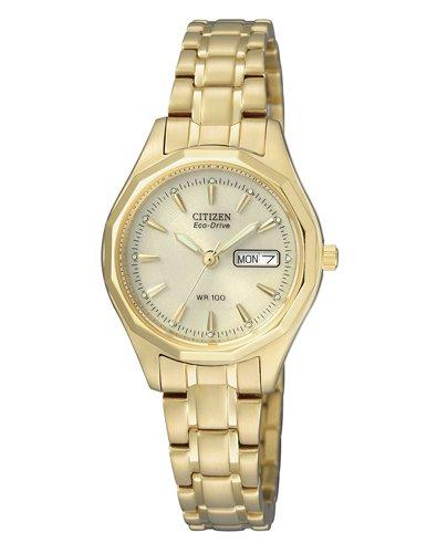 [Amazon] Citizen Damen-Armbanduhr Analog Quarz Gelbgold EW3142-56PE