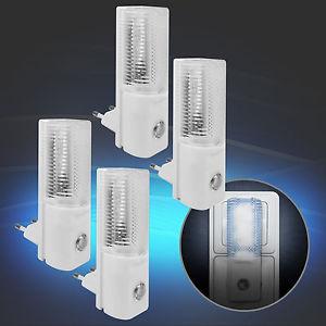 4x LED Nachtlicht Dämmerungssensor Lichtsensor Kinderzimmer Nacht Lampe Weiß