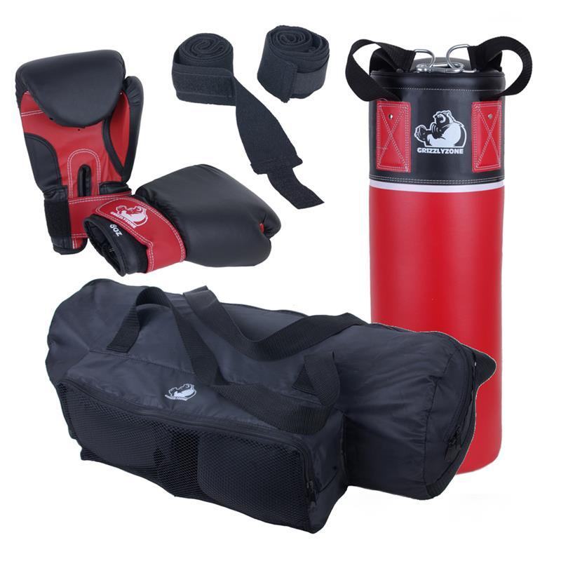 Boxset für Jugendliche 5,5 kg mit Nylongurt, Boxhandschuhe, Boxbandagen und Packsack