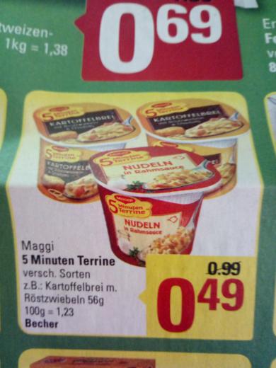 Marktkauf Minden/Hannover! 62x Maggi 5 min Terrine für 29,6 Cent pro Stk. ( effektiv nach 12€ Cashback von Maggi)