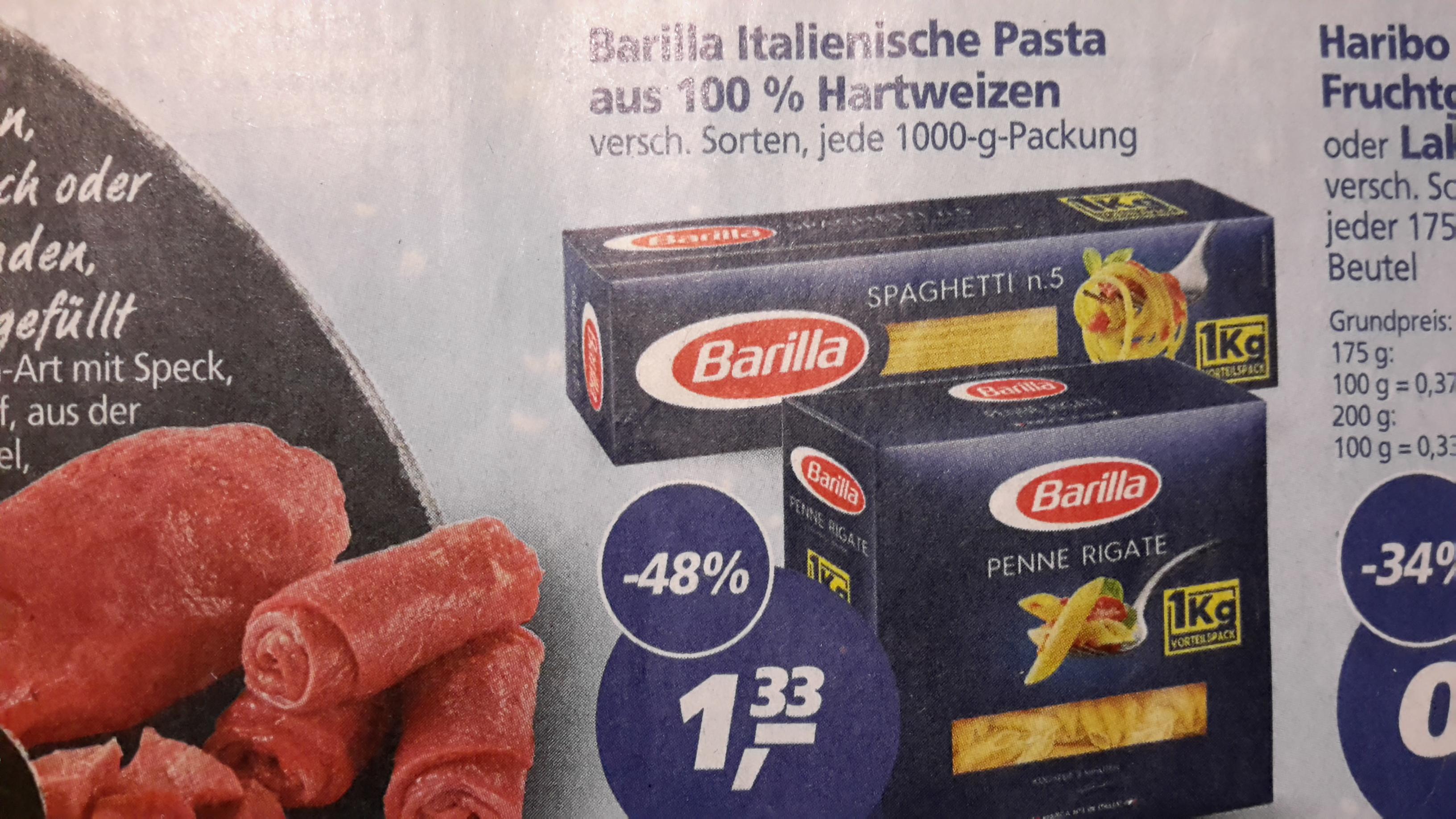 [REAL] Barilla Pasta verschiedene Sorten 1 kg Packungen ab 23.01.
