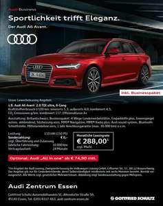 Leasing- Audi A 6 Avant Gewerbeleasing €249,-/Monat