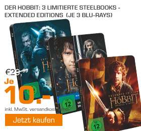 Der Hobbit  Extended Edition (Steelbook) - (Blu-ray) alle 3 Teile je 10€