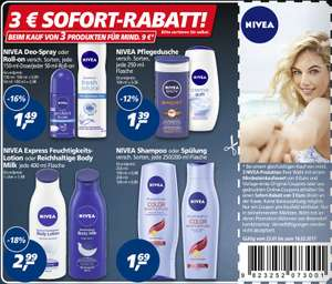 Neuer 3€ Nivea Sofort-Rabatt Coupon ab 9€ [Real/Rossmann/weitere]