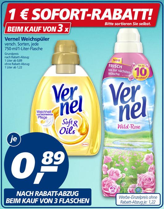 3x Vernel Weichspüler versch. Sorten 750/1000ml für 0,89€/Flasche