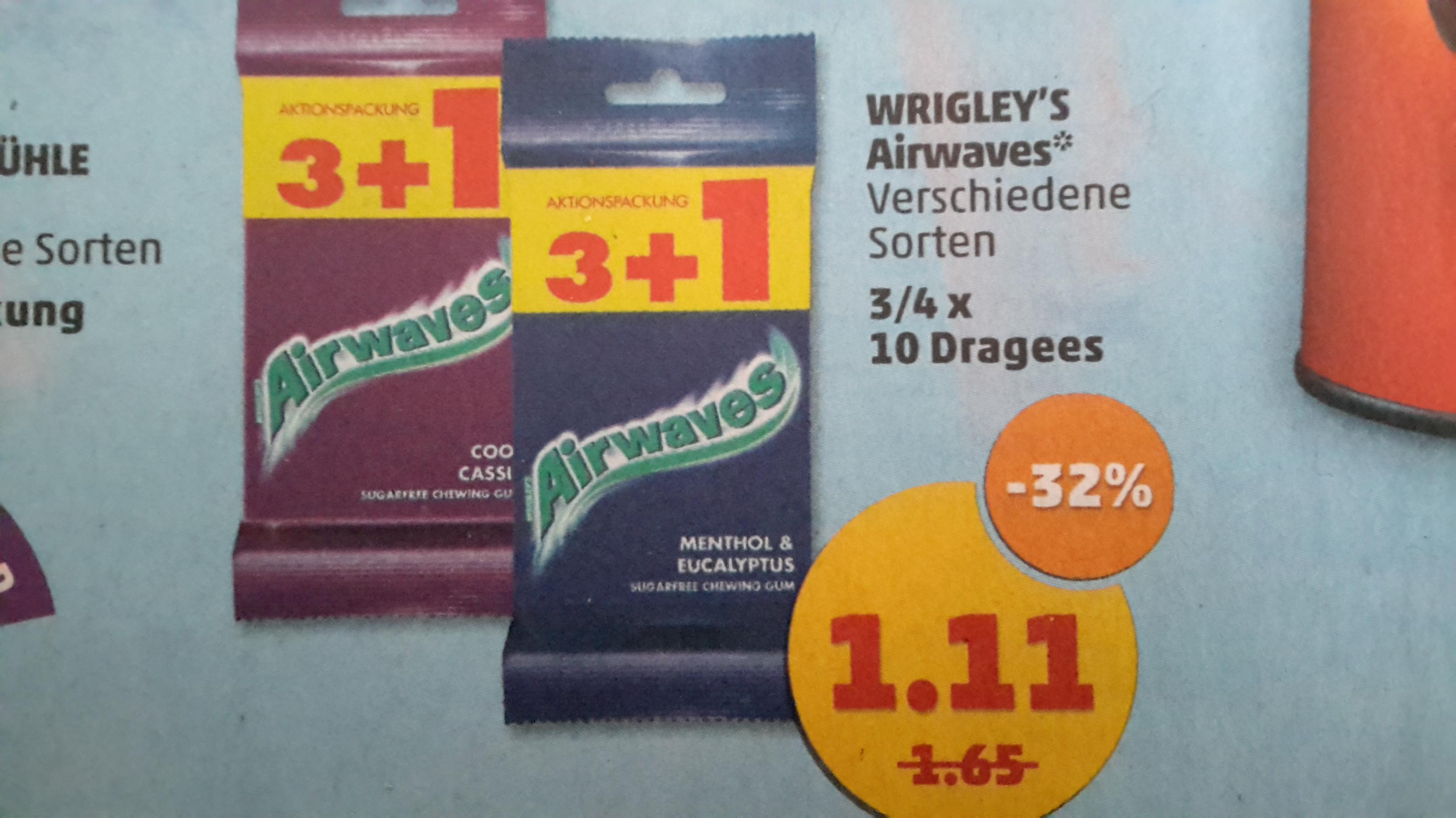 [Penny] Airwaves Kaugummi 4 x 10 Dragees für 1,11 €