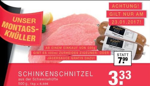 [lokal Bottrop / Düsseldorf / Gladbeck / Oberhausen] Montagsknüller: 500 gramm Schinkenschnitzel plus gratis Rolle Jäger oder Zigeunersoße für 3,33€   / ganze Woche über: 1 Leberkäs Brötchen für 1€