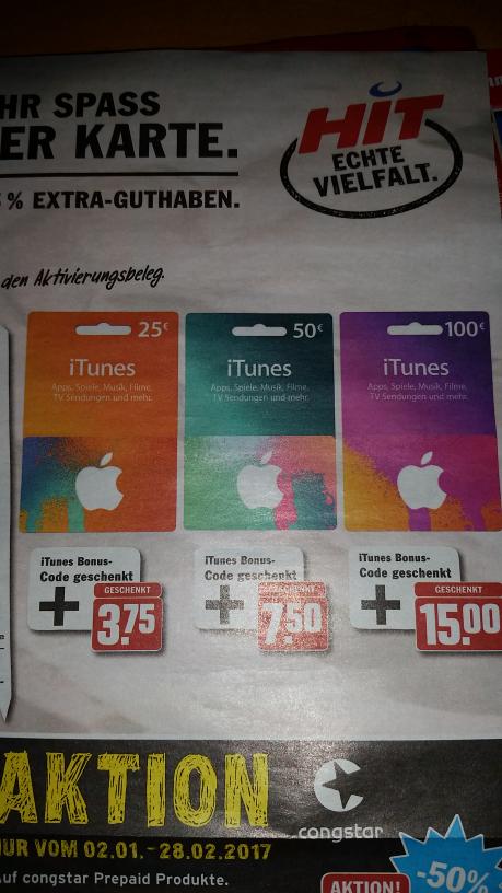 iTunes 15% Extra-Guthaben bei Hit ab Montag (23.01)
