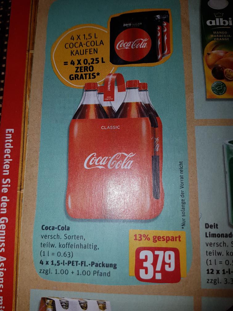 4×1,5 l Coca Cola kaufen- 4x0,25l Cc Zero gratis