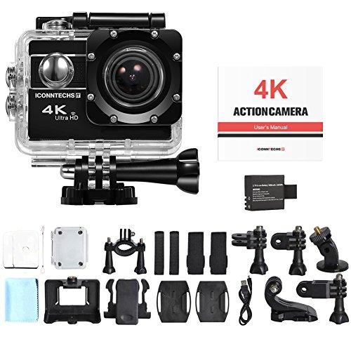 Amazon ICONNTECHS IT 4K Ultra HD Wasserfeste Sport-Actionkamera, 170° Weitwinkellinse, Full HD 1080P WiFi HDMI camcorder, Gratis Zubehör für Helm, Tauchen, Radfahren und Extremsport