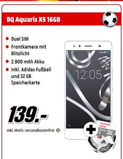 [Mediamarkt] BQ Aquaris X5 16 GB Weiß/Silber Dual SIM +Adidas Fussball + Sandisk Ultra 32 GB Micro SD für 139,-€