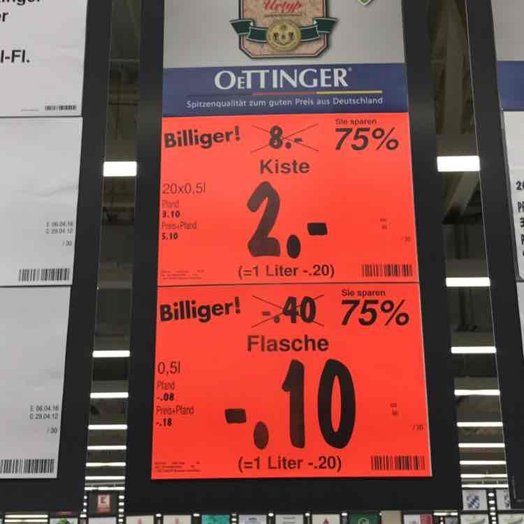 [lokal Kaufland Kleinschwarzenlohe] Oettinger Urtyp 10 Cent pro Flasche
