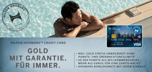 Hilton: Lebenslanger HHonors Gold-Status + Gratisübernachtung dank Kreditkarte (48 EUR/Jahr)