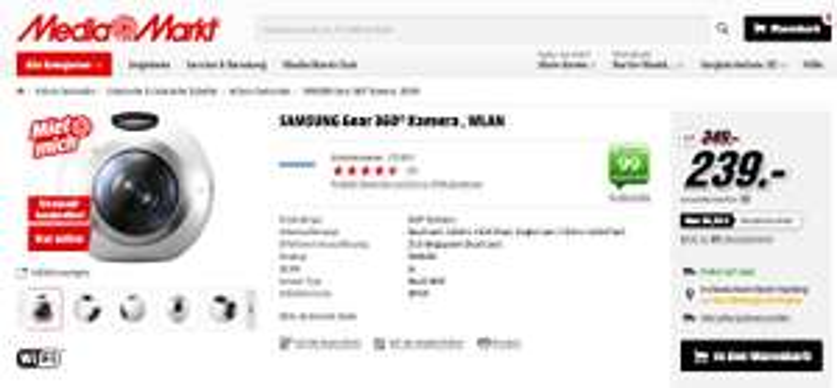 SAMSUNG Gear 360° Kamera , WLAN - nur ONLINE