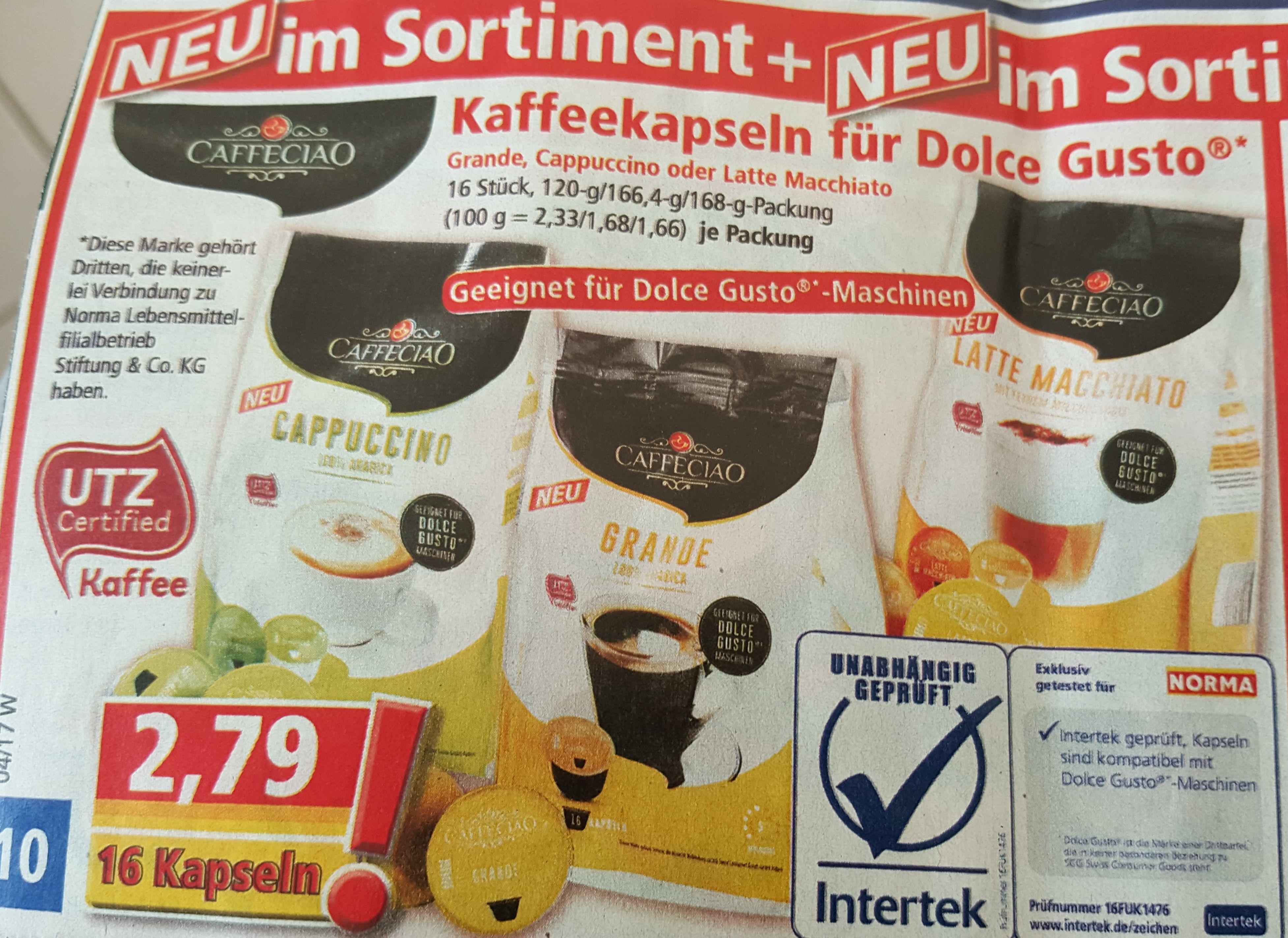 Kapseln für Dolce Gusto Maschinen bei Norma Neu im Sortiment für 2,79€