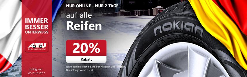 A.T.U Angebote: -20% auf Reifen, Kompletträder und Dachboxen vom 22.01 - 23.01.17 - NUR Online