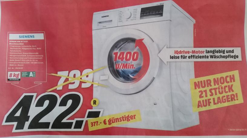Mediamarkt Restposten-Aktion WSV Gründau-Lieblos Siemens WM14T4B1 Waschmaschine