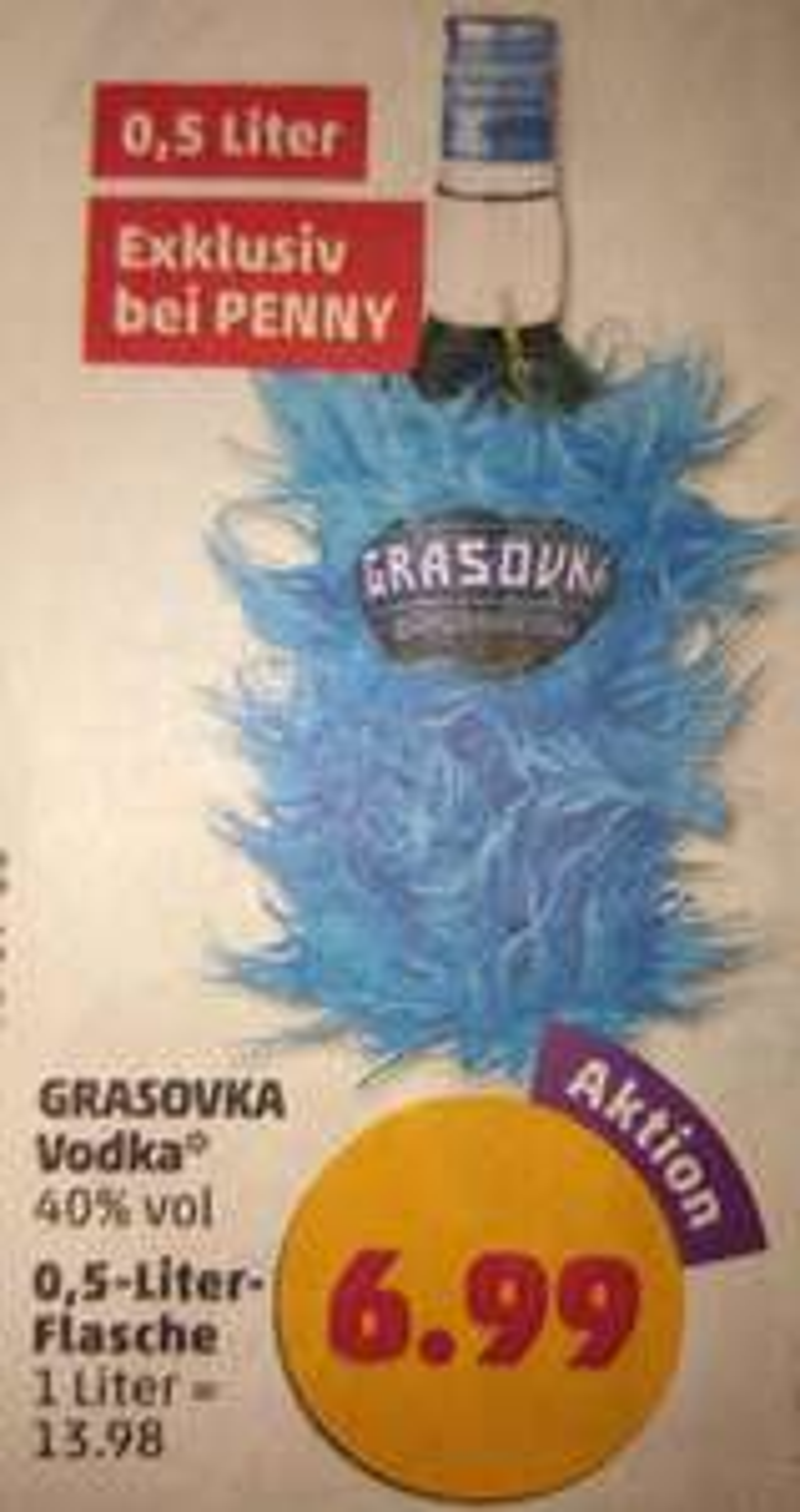 6 Flaschen Vodka Grasovka 0,5l für 6,16€/Flasche am Freitag 18-23 Uhr bei Penny