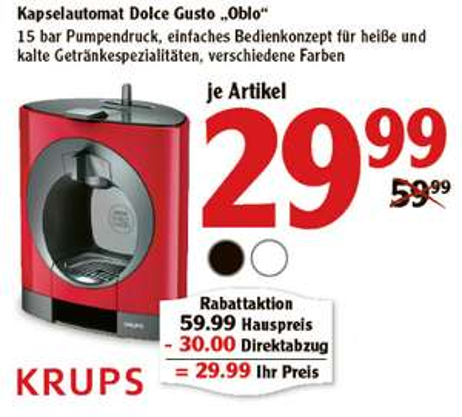 """Krups Dolce Gusto """"Oblo"""" versch. Farben für 29,99€ [Globus]"""