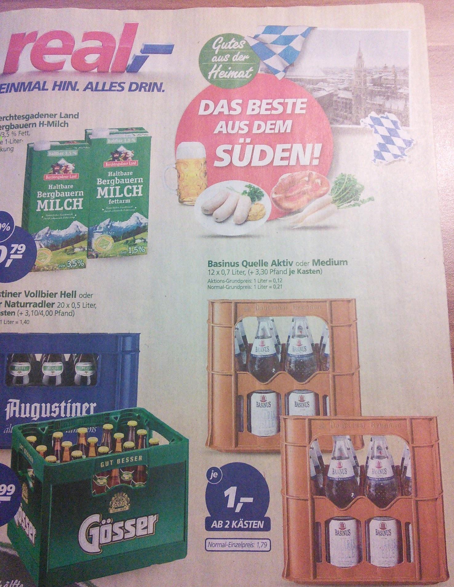 [REAL] 2 KASTEN Basinus Wasser 24x 0,7 Liter für 2 EURO [KW4] - Literpreis < 0,12 EUR  ***nur Bayern(?)***